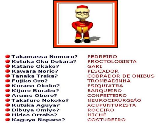 Nomes japoneses engraçados para profissões